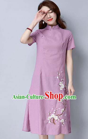 Traditional Ancient Chinese National Costume, Elegant Hanfu Mandarin Qipao Embroidery Peach Blossom Pink Dress, China Tang Suit Chirpaur Republic of China Cheongsam Upper Outer Garment Elegant Dress Clothing for Women