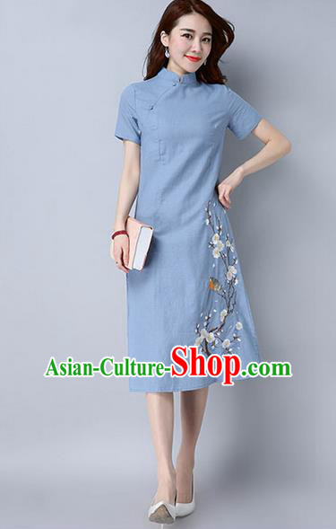 Traditional Ancient Chinese National Costume, Elegant Hanfu Mandarin Qipao Embroidery Peach Blossom Blue Dress, China Tang Suit Chirpaur Republic of China Cheongsam Upper Outer Garment Elegant Dress Clothing for Women