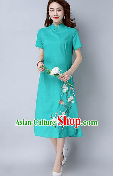 Traditional Ancient Chinese National Costume, Elegant Hanfu Mandarin Qipao Embroidery Peach Blossom Green Dress, China Tang Suit Chirpaur Republic of China Cheongsam Upper Outer Garment Elegant Dress Clothing for Women