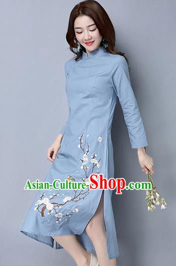 Traditional Ancient Chinese National Costume, Elegant Hanfu Mandarin Qipao Embroidery Peach Blossom Long Sleeve Blue Dress, China Tang Suit Chirpaur Republic of China Cheongsam Upper Outer Garment Elegant Dress Clothing for Women