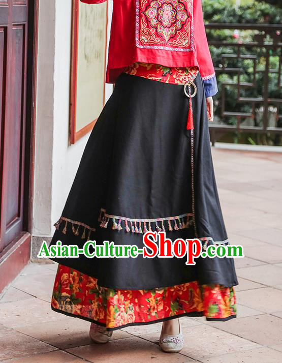 Traditional Ancient Chinese National Pleated Skirt Costume, Elegant Hanfu Red Patch Long Dress, China Tang Suit National Minority Bust Skirt for Women