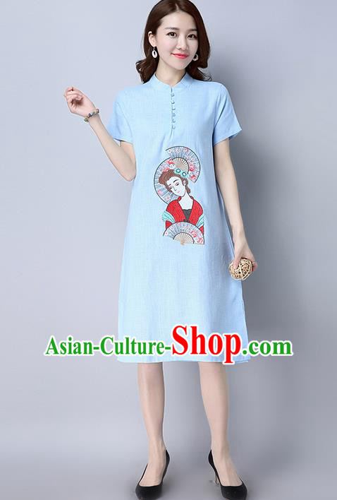 Traditional Ancient Chinese National Costume, Elegant Hanfu Mandarin Qipao Linen Embroidered Blue Dress, China Tang Suit Chirpaur Republic of China Cheongsam Upper Outer Garment Elegant Dress Clothing for Women