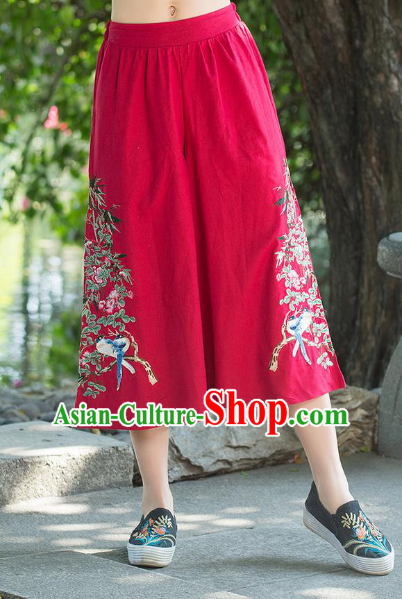 Traditional Chinese National Costume Loose Pants, Elegant Hanfu Embroidered Red Wide leg Pants, China Ethnic Minorities Tang Suit Ultra-wide-leg Trousers for Women