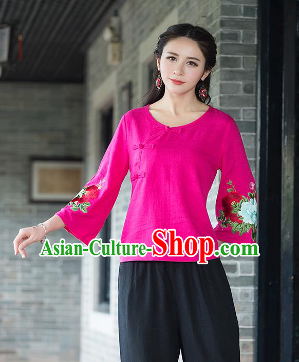 Traditional Chinese National Costume, Elegant Hanfu Embroidery Flowers Slant Opening Mandarin Sleeve Rose T-Shirt, China Tang Suit Republic of China Plated Buttons Chirpaur Blouse Cheong-sam Upper Outer Garment Qipao Shirts Clothing for Women