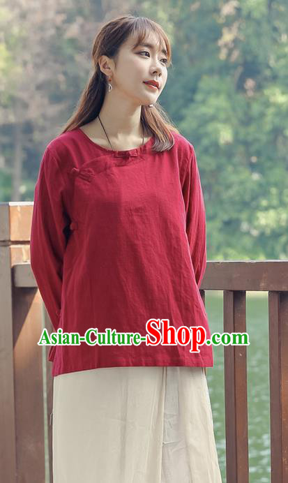 Traditional Chinese National Costume, Elegant Hanfu Linen Slant Opening Red Shirt, China Tang Suit Republic of China Plated Buttons Chirpaur Blouse Cheong-sam Upper Outer Garment Qipao Shirts Clothing for Women