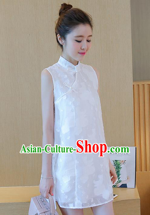 Traditional Ancient Chinese National Costume, Elegant Hanfu Jacquard Slant Opening Plated Buttons White Dress, China Tang Suit Chirpaur Republic of China Cheongsam Upper Outer Garment Elegant Dress Clothing for Women
