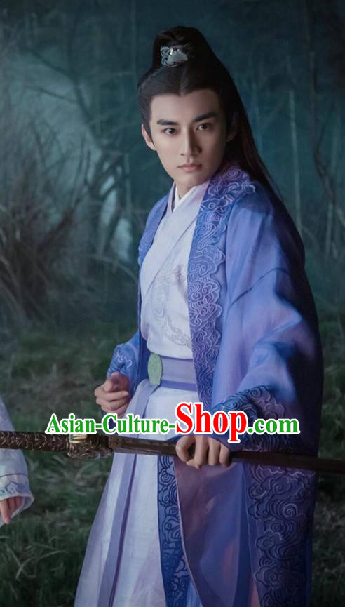 Traditional Ancient Chinese Elegant Swordsman Costume, Chinese Jiang hu Taoist Dress, Cosplay Chinese Television Drama Jade Dynasty Qing Yun Faction Childe Hanfu Embroidery Clothing for Men