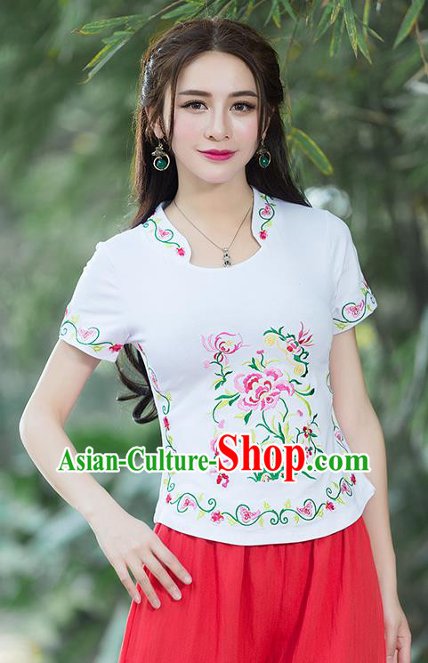 Traditional Chinese National Costume, Elegant Hanfu Embroidery Flowers Stand Collar White Pink T-Shirt, China Tang Suit Republic of China Chirpaur Blouse Cheong-sam Upper Outer Garment Qipao Shirts Clothing for Women