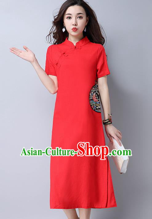 Traditional Ancient Chinese National Costume, Elegant Hanfu Mandarin Qipao Linen Slant Opening Embroidery Red Dress, China Tang Suit Chirpaur Republic of China Cheongsam Upper Outer Garment Elegant Dress Clothing for Women