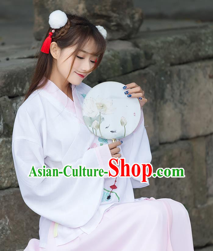 Traditional Ancient Chinese Costume, Elegant Hanfu Clothing Embroidered Slant Opening Pink Blouse, China Tang Dynasty Princess Elegant Blouse for Women