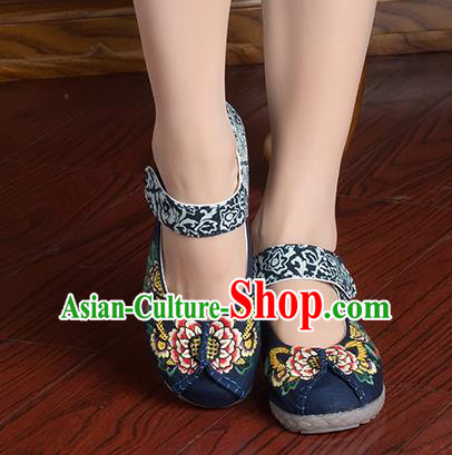 Traditional Chinese Shoes, China Handmade Linen Embroidered Flowers Navy Shoes, China Ancient Cloth Shoes for Women