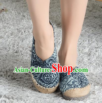 Traditional Chinese Shoes, China Handmade Linen Embroidered Blue and white porcelain Navy Shoes, China Ancient Cloth Shoes for Women