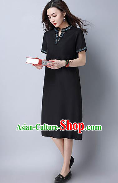 Traditional Ancient Chinese National Costume, Elegant Hanfu Mandarin Qipao Linen Embroidery Black Dress, China Tang Suit Chirpaur Republic of China Cheongsam Upper Outer Garment Elegant Dress Clothing for Women