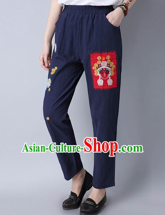 Traditional Chinese National Costume Loose Pants, Elegant Hanfu Embroidered Beijing Opera Facial Masks Navy Wide leg Pants, China Ethnic Minorities Tang Suit Ultra-wide-leg Trousers for Women