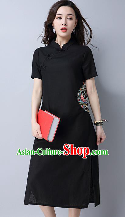 Traditional Ancient Chinese National Costume, Elegant Hanfu Mandarin Qipao Linen Slant Opening Embroidery Black Dress, China Tang Suit Chirpaur Republic of China Cheongsam Upper Outer Garment Elegant Dress Clothing for Women