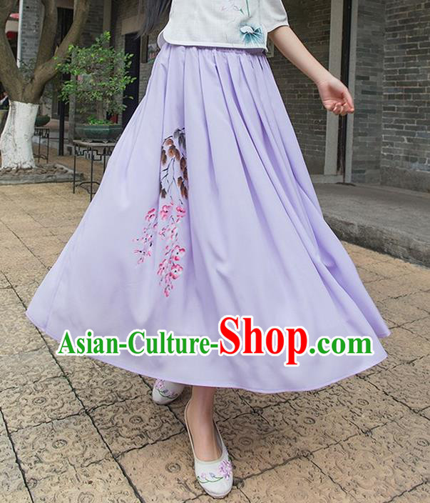 Traditional Ancient Chinese National Pleated Skirt Costume, Elegant Hanfu Hand Painting Peach Blossom Long Purple Dress, China Tang Suit Bust Skirt for Women