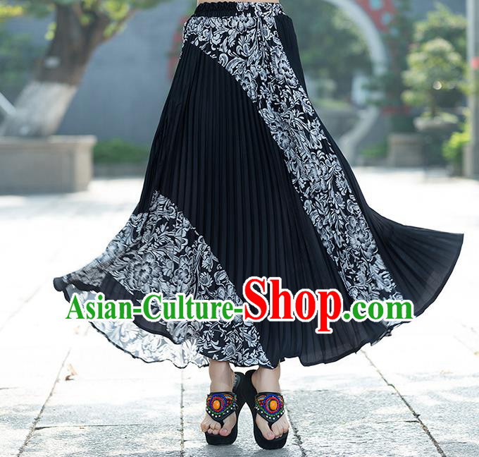 Traditional Ancient Chinese National Pleated Skirt Costume, Elegant Hanfu Chiffon Long Black Dress, China Tang Suit Big Swing Bust Skirt for Women