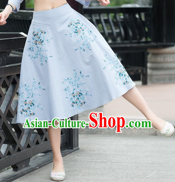 Traditional Ancient Chinese National Pleated Skirt Costume, Elegant Hanfu Embroidery Blue Dress, China Tang Suit Big Swing Bust Skirt for Women