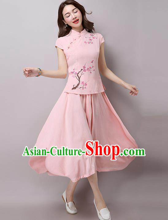 Traditional Chinese National Costume, Elegant Hanfu Embroidery Flowers Slant Opening Pink T-Shirt and Skirt Complete Set, China Tang Suit Republic of China Plated Buttons Chirpaur Blouse and Dress for Women