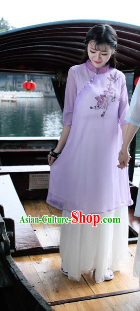 Traditional Ancient Chinese National Costume, Elegant Hanfu Mandarin Qipao Hand Painting Purple Dress, China Tang Suit Mandarin Collar Chirpaur Republic of China Cheongsam Upper Outer Garment Elegant Dress Clothing for Women