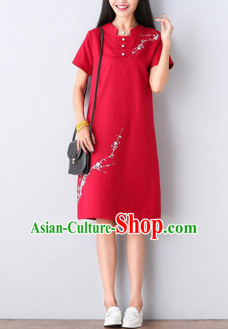 Traditional Ancient Chinese National Costume, Elegant Hanfu Mandarin Qipao Hand Ink Painting Red Dress, China Tang Suit Mandarin Collar Chirpaur Republic of China Cheongsam Upper Outer Garment Elegant Dress Clothing for Women