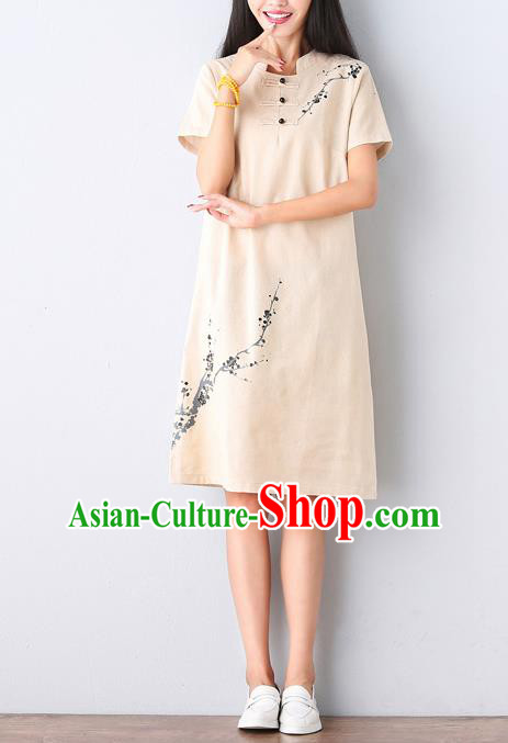 Traditional Ancient Chinese National Costume, Elegant Hanfu Mandarin Qipao Hand Ink Painting Beige Dress, China Tang Suit Mandarin Collar Chirpaur Republic of China Cheongsam Upper Outer Garment Elegant Dress Clothing for Women