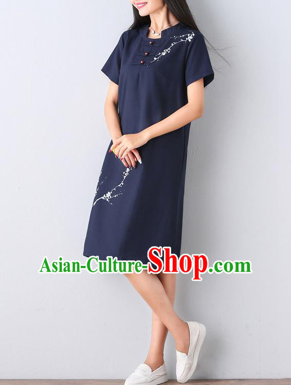 Traditional Ancient Chinese National Costume, Elegant Hanfu Mandarin Qipao Hand Ink Painting Navy Dress, China Tang Suit Mandarin Collar Chirpaur Republic of China Cheongsam Upper Outer Garment Elegant Dress Clothing for Women