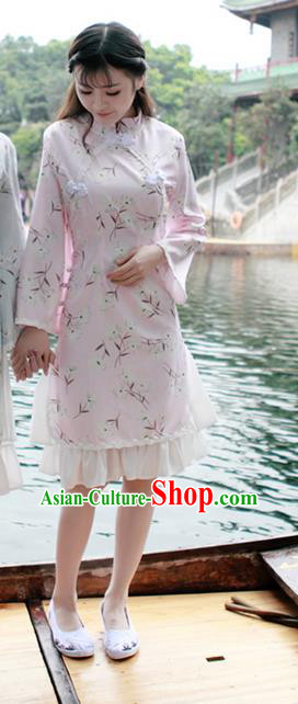 Traditional Ancient Chinese National Costume, Elegant Hanfu Mandarin Qipao Falbala Pink Dress, China Tang Suit Mandarin Sleeve Chirpaur Republic of China Cheongsam Upper Outer Garment Elegant Dress Clothing for Women