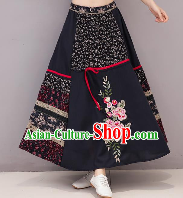 Traditional Ancient Chinese National Pleated Skirt Costume, Elegant Hanfu Linen Embroidery Long Black Dress, China Tang Suit National Minority Bust Skirt for Women