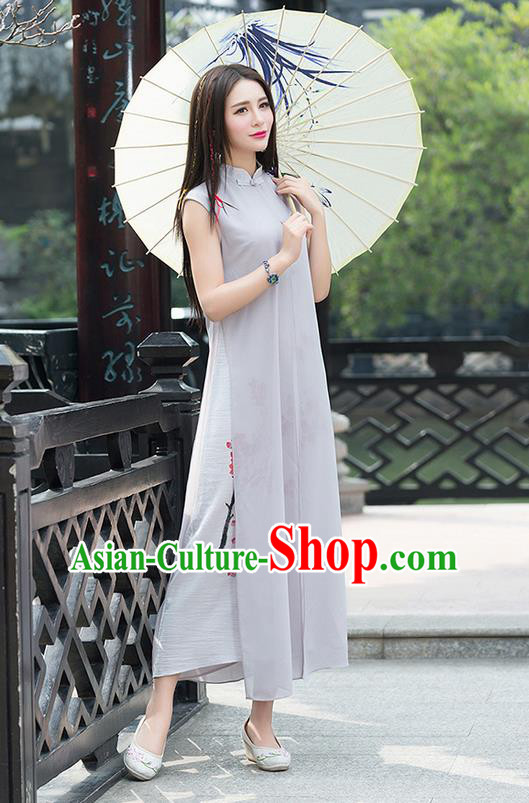 Traditional Chinese National Costume, Elegant Hanfu Mandarin Qipao Linen Hand Painting Plum Blossom Grey Dress, China Tang Suit Chirpaur Republic of China Cheongsam Upper Outer Garment Elegant Dress Clothing for Women