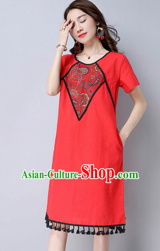 Traditional Ancient Chinese National Costume, Elegant Hanfu Mandarin Qipao Linen Patch Embroidery Red Dress, China Tang Suit Tassel Chirpaur Republic of China Cheongsam Upper Outer Garment Elegant Dress Clothing for Women