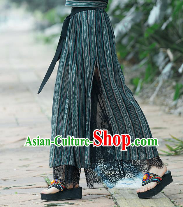 Traditional Chinese National Costume Loose Pants, Elegant Hanfu Embroidered Lace Wide leg Pants, China Ethnic Minorities Tang Suit Ultra-wide-leg Trousers for Women