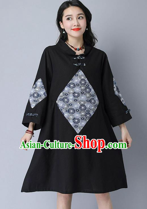 Traditional Ancient Chinese National Costume, Elegant Hanfu Mandarin Qipao Linen Patch Black Dress, China Tang Suit Chirpaur Republic of China Cheongsam Upper Outer Garment Elegant Dress Clothing for Women