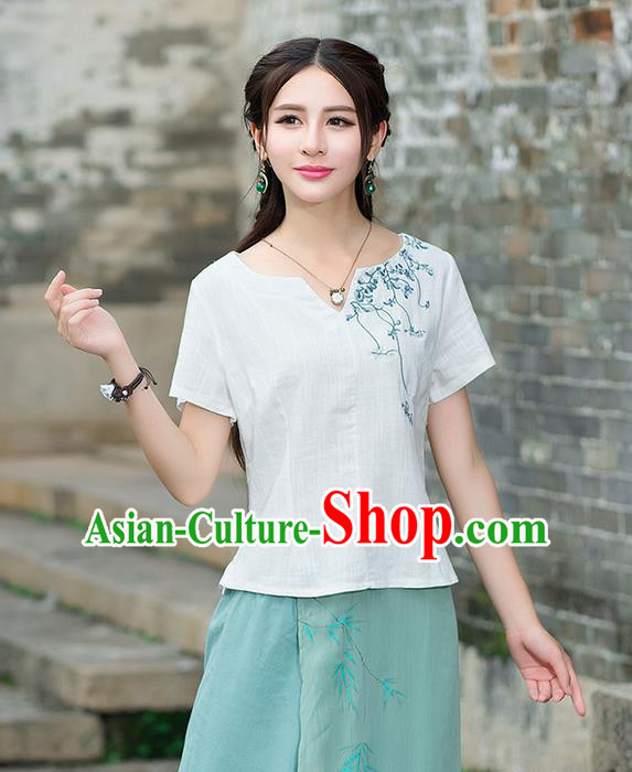 Traditional Chinese National Costume, Elegant Hanfu Embroidery Flowers White T-Shirt, China Tang Suit Republic of China Chirpaur Blouse Cheong-sam Upper Outer Garment Qipao Shirts Clothing for Women