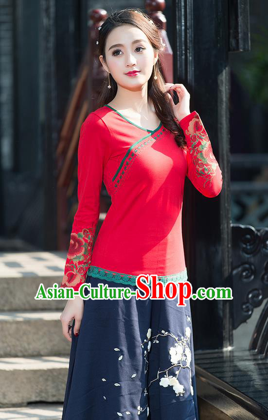 Traditional Chinese National Costume, Elegant Hanfu Embroidery Sleeve Red T-Shirt, China Tang Suit Republic of China Chirpaur Blouse Cheong-sam Upper Outer Garment Qipao Shirts Clothing for Women
