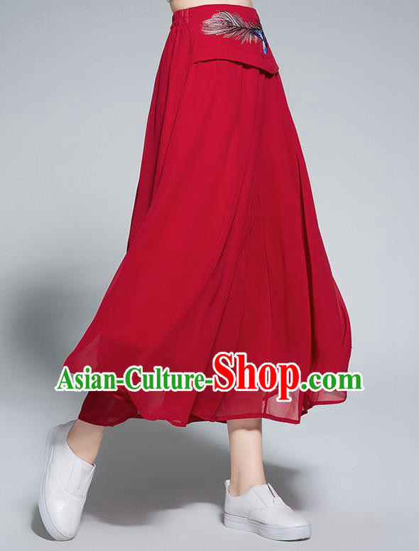 Traditional Chinese National Costume Loose Pants, Elegant Hanfu Embroidered Belt Chiffon Red Wide leg Pants, China Ethnic Minorities Tang Suit Ultra-wide-leg Trousers for Women