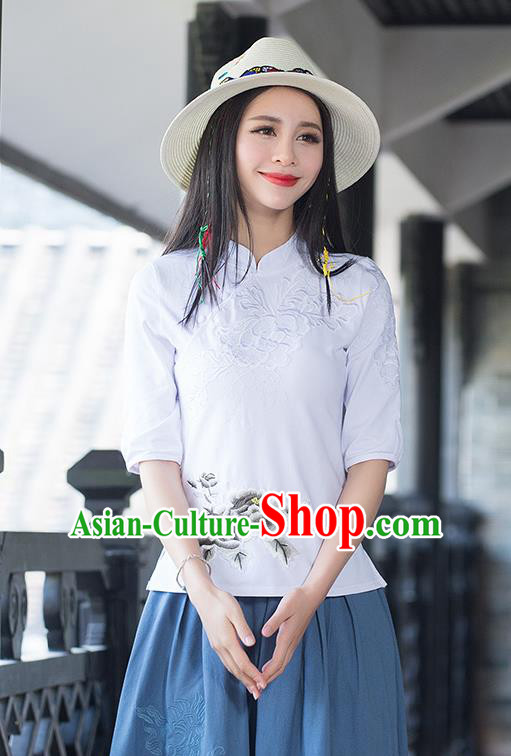 Traditional Chinese National Costume, Elegant Hanfu Stand Collar White T-Shirt, China Tang Suit Plated Buttons Chirpaur Blouse Cheong-sam Upper Outer Garment Qipao Shirts Clothing for Women