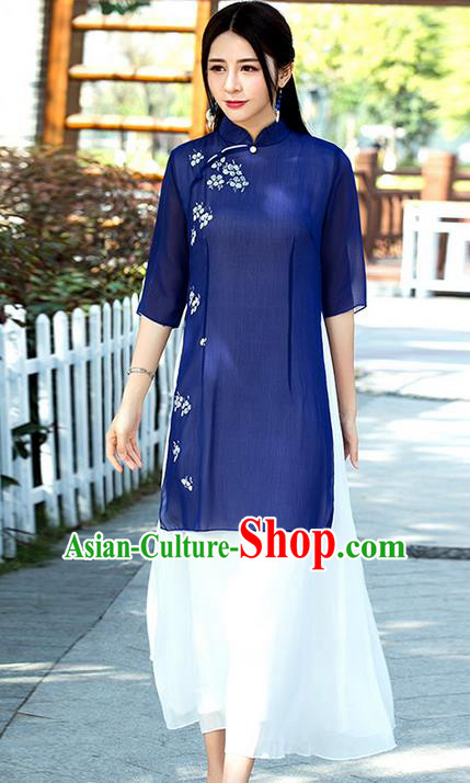 Traditional Ancient Chinese National Costume, Elegant Hanfu Mandarin Qipao Linen Hand Painting Dress, China Tang Suit Chirpaur Republic of China Cheongsam Upper Outer Garment Elegant Dress Clothing for Women