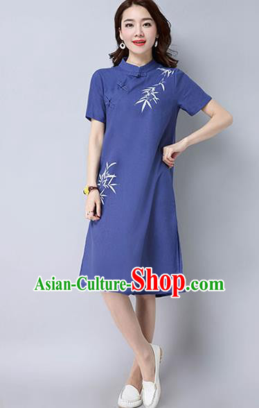 Traditional Ancient Chinese National Costume, Elegant Hanfu Mandarin Qipao Hand Painting Blue Dress, China Tang Suit Stand Collar Chirpaur Republic of China Cheongsam Upper Outer Garment Elegant Dress Clothing for Women