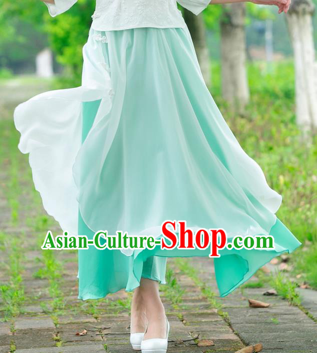 Traditional Ancient Chinese National Pleated Skirt Costume, Elegant Hanfu Chiffon Big Swing Long Dress, China Tang Dynasty Bust Skirt for Women