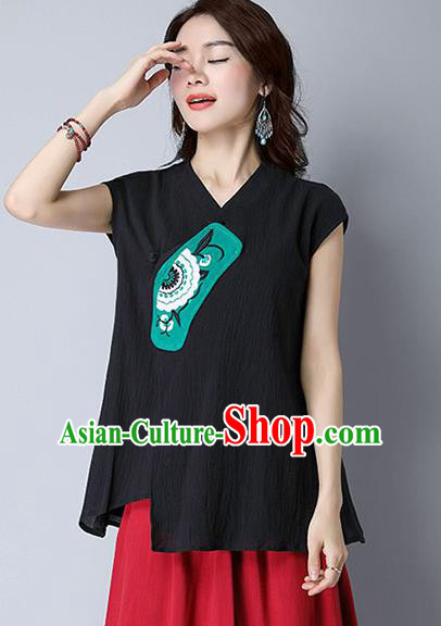 Traditional Chinese National Costume, Elegant Hanfu Patch Embroidery Black T-Shirt, China Tang Suit Republic of China Plated Buttons Chirpaur Blouse Cheong-sam Upper Outer Garment Qipao Shirts Clothing for Women