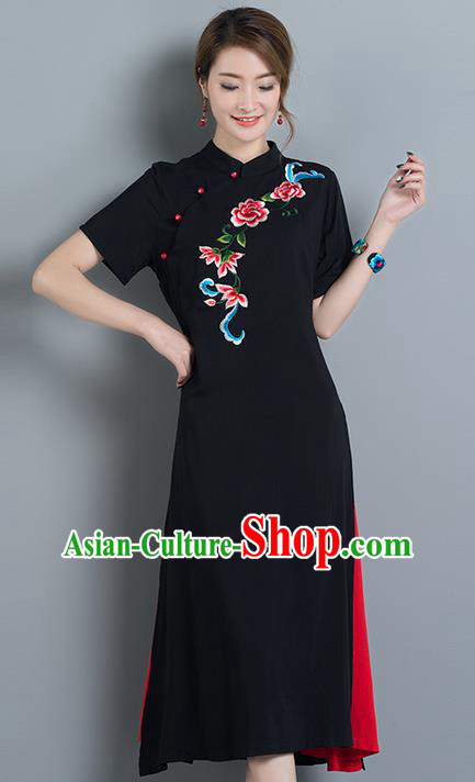Traditional Ancient Chinese National Costume, Elegant Hanfu Mandarin Qipao Embroidery Black Linen Dress, China Tang Suit Chirpaur Republic of China Cheongsam Upper Outer Garment Elegant Dress Clothing for Women