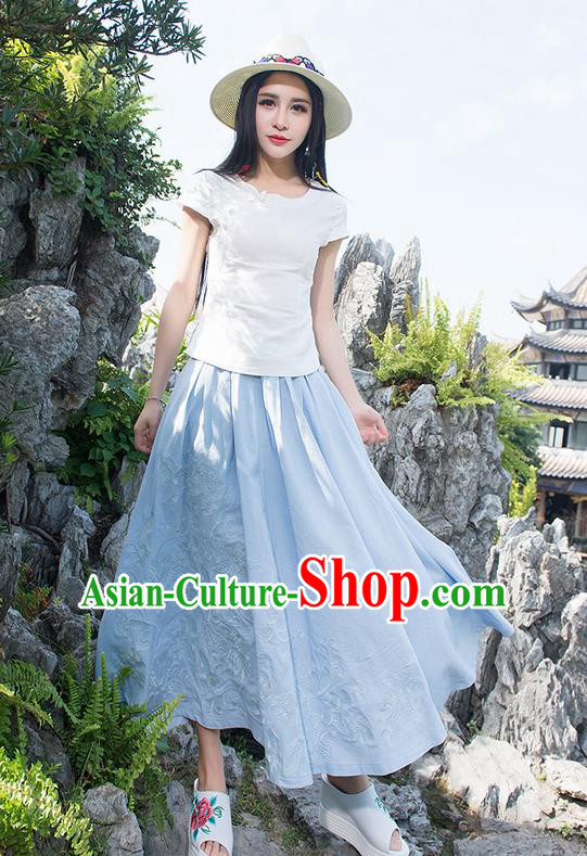Traditional Ancient Chinese National Pleated Skirt Costume, Elegant Hanfu Embroidery Long Blue Dress, China Tang Suit Linen Bust Skirt for Women