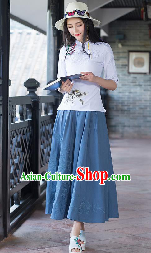 Traditional Ancient Chinese National Pleated Skirt Costume, Elegant Hanfu Embroidery Long Navy Dress, China Tang Suit Linen Bust Skirt for Women