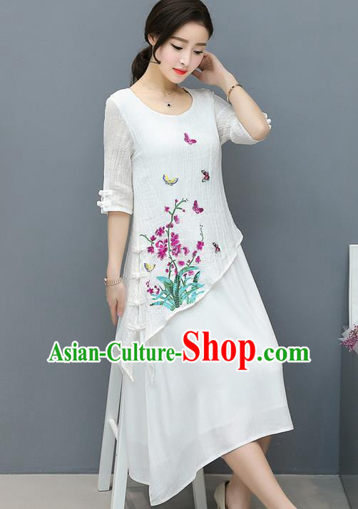 Traditional Ancient Chinese National Costume, Elegant Hanfu Mandarin Qipao Heavy Embroidery Flowers Linen White Dress, China Tang Suit Chirpaur Republic of China Cheongsam Upper Outer Garment Elegant Dress Clothing for Women