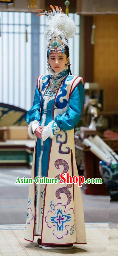 Traditional Ancient Chinese Elegant Aristocratic Female Dance Costume, Chinese Northern Dynasty National Minority Palace Young Lady Dress, Cosplay Chinese Television Drama Alegend of Pringess Lanling Princess Hanfu Trailing Embroidery Clothing for Women