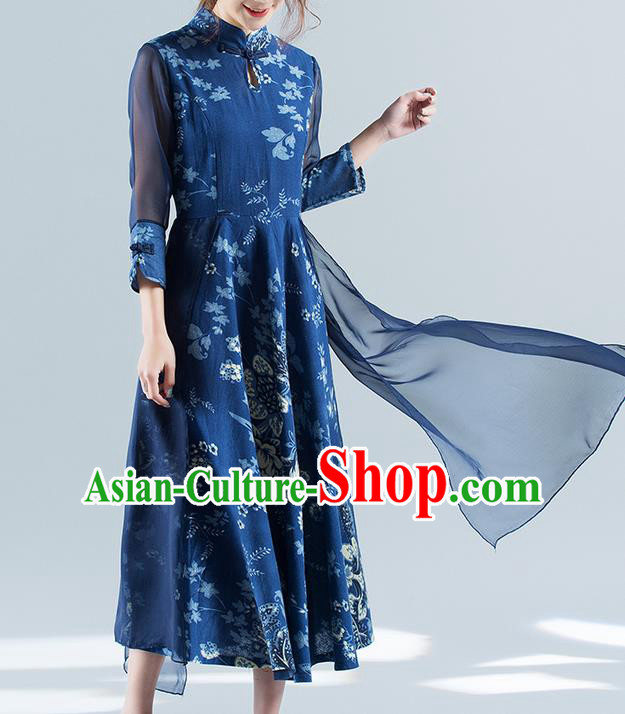 Traditional Ancient Chinese National Costume, Elegant Hanfu Mandarin Qipao Chiffon Printing Blue Double-deck Dress, China Tang Suit Chirpaur Republic of China Cheongsam Upper Outer Garment Elegant Dress Clothing for Women