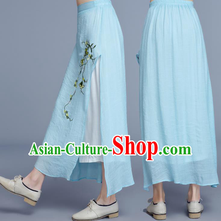 Traditional Chinese National Costume Loose Pants, Elegant Hanfu Embroidered Chiffon Blue Wide leg Pants, China Ethnic Minorities Tang Suit Ultra-wide-leg Trousers for Women