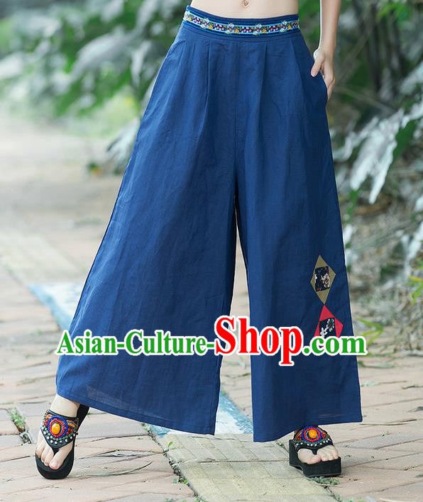 Traditional Chinese National Costume Loose Pants, Elegant Hanfu Embroidered Navy Wide leg Pants, China Ethnic Minorities Tang Suit Ultra-wide-leg Trousers for Women