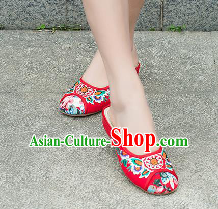 Traditional Chinese Shoes, China Handmade Embroidered Slippers Red Shoes, Ancient Princess Linen Shoes for Women